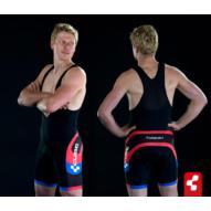Cube Teamline kantáros, rövid, férfi nadrág fekete/fehér/piros/kék