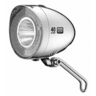 Kerékpár Lámpa agydinamós első, Retro LED, króm, 40 LUX, kapcsőló, szenzor, állófény