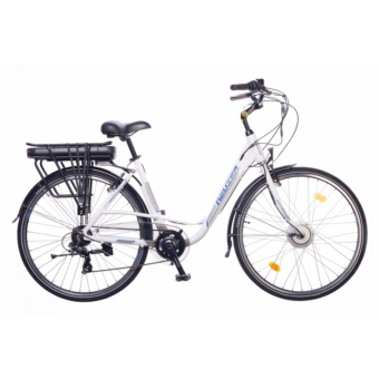 """Neuzer E-Trekking női fehér/ezüst- kék 19"""" Elektromos kerékpár"""