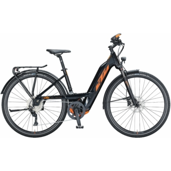 KTM MACINA SPORT 630 EASY ENTRY metallic black (orange) Unisex Elektromos Trekking Kerékpár 2021