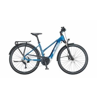 KTM MACINA SPORT P510 TRAPÉZ denim (white+blue) Férfi Elektromos Trekking Kerékpár 2021