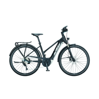 KTM MACINA SPORT P610 TRAPÉZ black matt (white+blue) Női Elektromos Trekking Kerékpár 2021