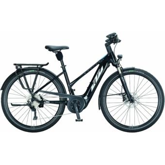 KTM MACINA TOUR P 610 TRAPÉZ metallic black (white+blue) Női Elektromos Trekking Kerékpár 2021