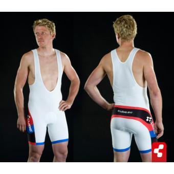 Cube Teamline kantáros, rövid, férfi nadrág fehér/fekete/piros/kék